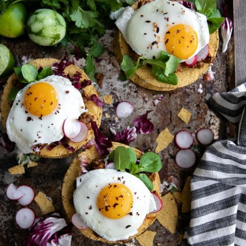 ground turkey mole tostada with eggs