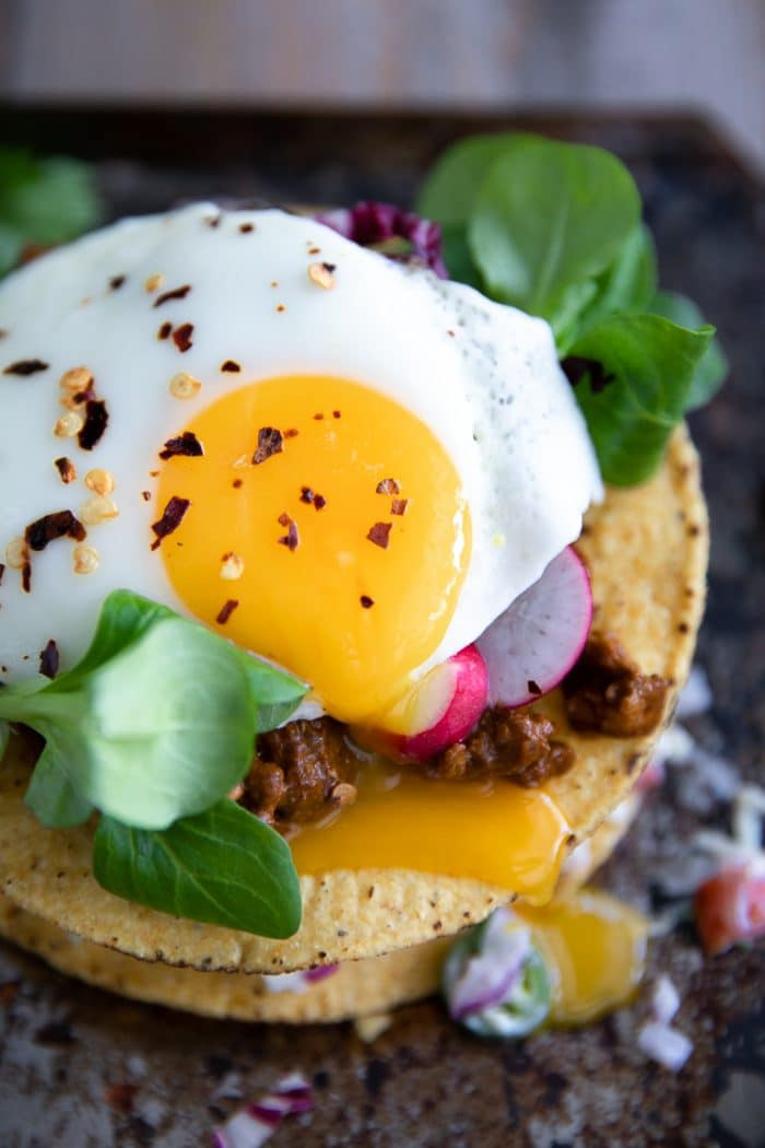 Tostada with drippy egg yolk