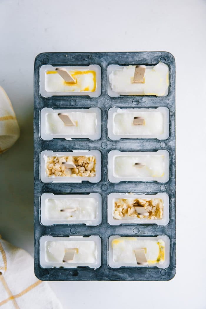 cereal yogurt ice pops in popsicle mold