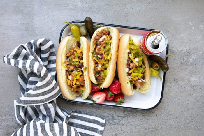Loaded sausage dogs with coca-cola chili