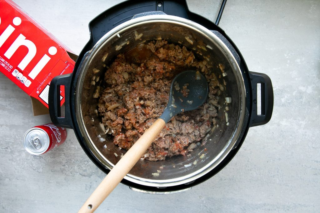 Ground beef cooking in instant pot