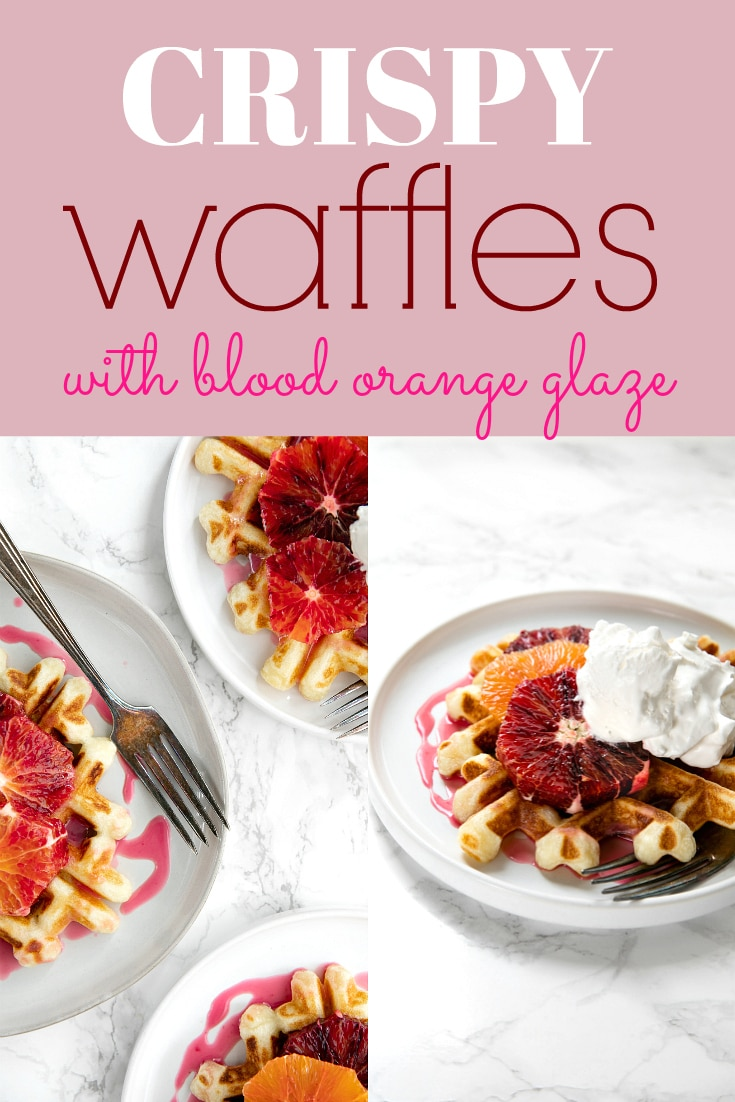Light, fluffy and perfectly crisp around the edges, these Easy Crispy Waffles with Blood Orange Glaze are delicious for breakfast, brunch, dinner, or even dessert and make the perfect Mother\'s Day Brunch surprise! via @theforkedspoon #sponsored #brunch #waffles #recipe #breakfast #mothersday