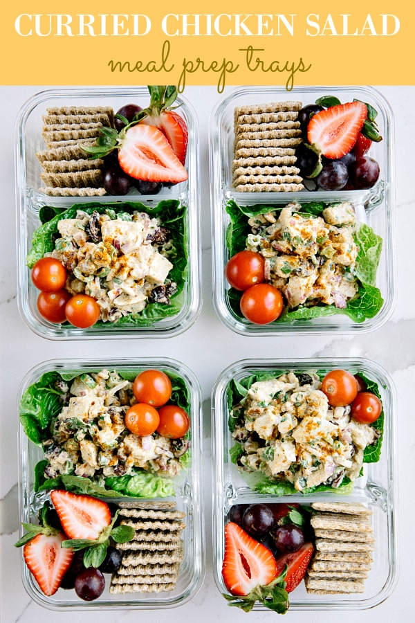 A classic lunchtime favorite, these healthy and delicious CURRIED CHICKEN SALAD SNACK PACKS with fruit and crackers are an easy and affordable way to get ahead in your week via @theforkedspoon #mealprep #chickensalad #healthylunch #curry #curriedchicken #lowcarb #easylunch #easyrecipe #chicken | For this recipe and more visit, https://theforkedspoon.com/