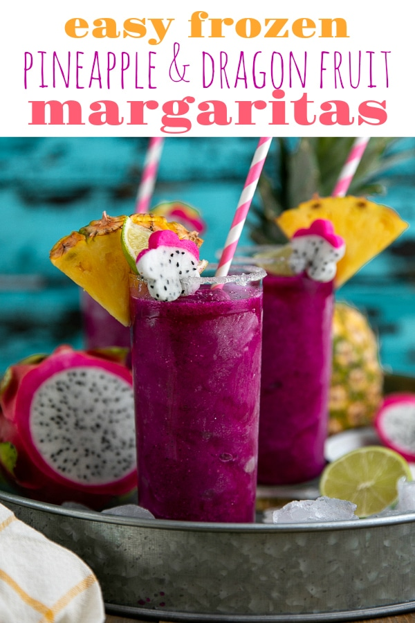 Frozen Pineapple Dragon Fruit Margaritas. Cold, crisp, and refreshing, these Frozen Pineapple Dragon Fruit Margaritas are the perfect solution for all those hot summer days and backyard BBQs. Swap the tequila for pineapple juice to make a healthy, fruit packed smoothie loved by both kids and adults! via @theforkedspoon #margarita #tequila #cocktail #frozenmargarita #drinkrecipe #dragonfruit | For this recipe and more visit, https://theforkedspoon.com/