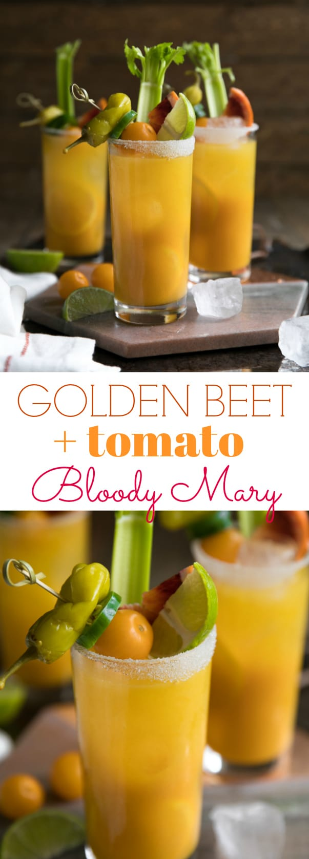 Golden Beet and Tomato Bloody Mary. Cheers to the weekend with this nutrient (and vodka) filled Golden Beet and Tomato Bloody Mary. Made with golden beets, yellow heirloom tomatoes, vodka, and all the fixings, these beautiful Bloody Mary\'s are delicious, and just what your next brunch party calls for. via @theforkedspoon #bloodymary #beets #goldenbeets #brunch #recipe #cocktailrecipe #vodka #easyrecipe #breakfast | For this recipe and more visit, https://theforkedspoon.com/
