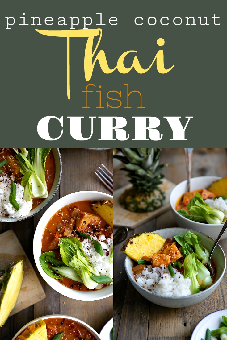 Ready in just 30 minutes, this Pineapple Coconut Thai Fish Curry is rich, comforting, and packed full of chunks of white fish and fresh vegetables. Delicious for dinner or even leftover for lunch, even the kids will love the flavorful broth made even better with sweet pineapple via @theforkedspoon #thairedcurry #curry #fishcurry #30minutemeal #easyrecipe #pineapple #glutenfree #easydinner #stew | For this recipe and more visit, https://theforkedspoon.com/