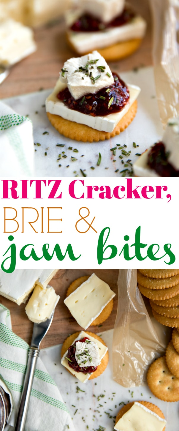 RITZ Cracker, Brie, and Jam Bites- the perfect combination of salty, sweet, and savory and take just minutes to prepare via @theforkedspoon @RITZ #ad #RITZCrackers #appetizers #snacks #easysnack #briecheese #chicken #rosemary #easyrecipe #partyfood #snacktime  FOr this recipe and more visit, https://theforkedspoon.com/