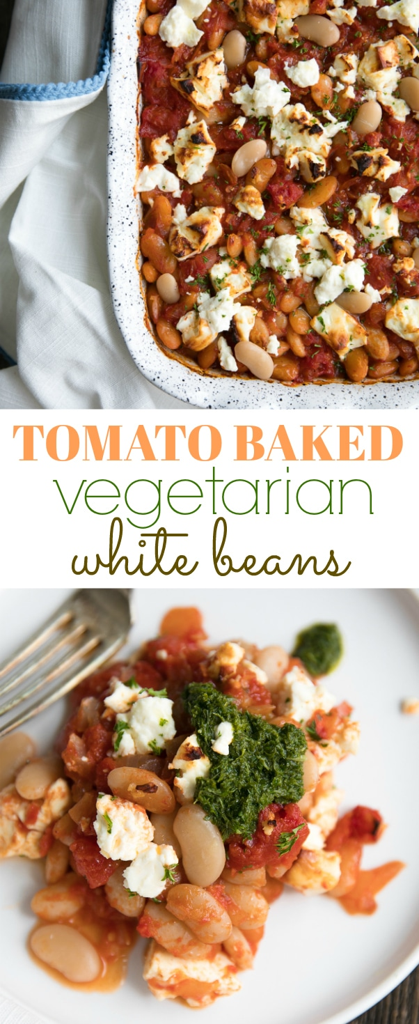 Tomato Baked Vegetarian Beans with Tangy Feta Cheese. Delicious casserole made with fiber-filled white beans, sweet tomatoes, and tangy feta via @theforkedspoon #vegetarian #recipe #easydinner #beans #casserole #whitebeans #tomatoes #healthyrecipe #meatlessmonday | For this recipe and more visit, https://theforkedspoon.com/