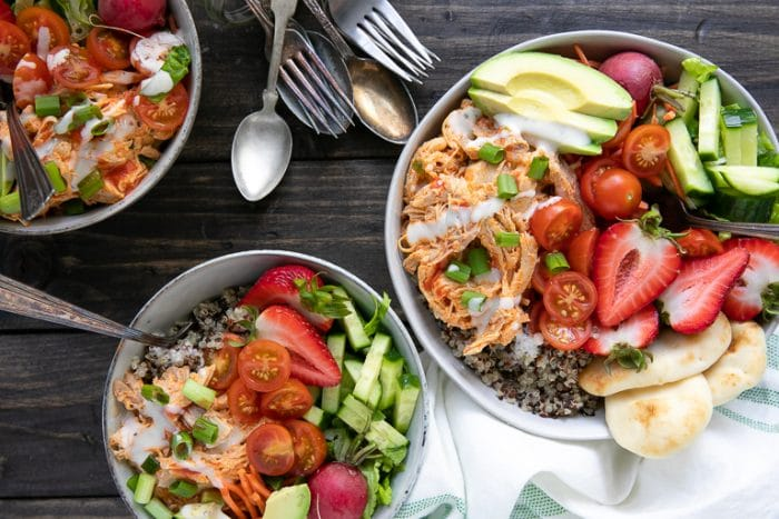Instant Pot Buffalo Chicken Quinoa Bowls