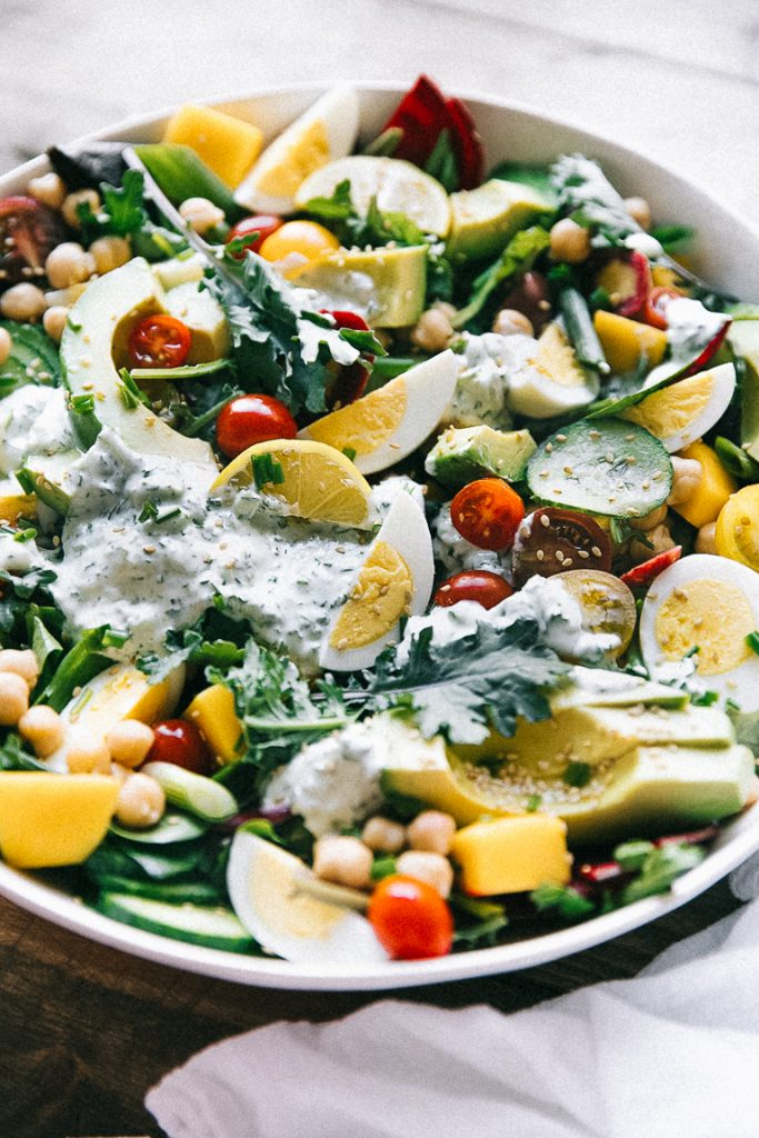 green salad with herb dressing