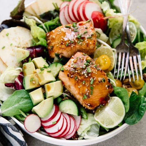 A plate of food, with Apple salmon Salad