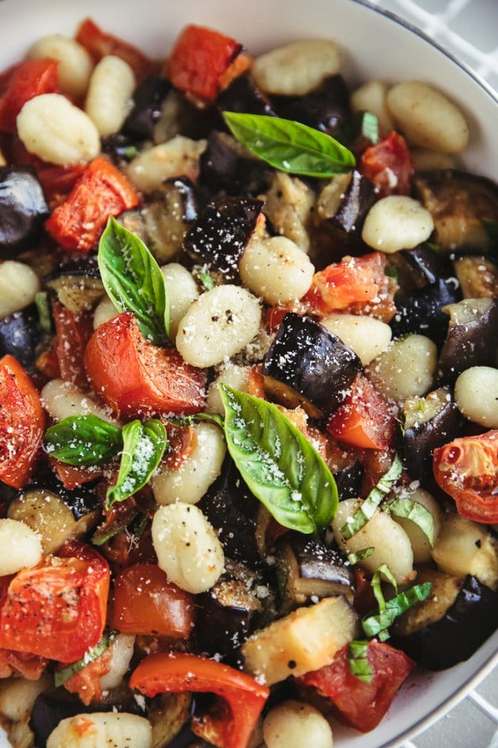 easy dinner potato gnocchi with roasted eggplant and tomatoes