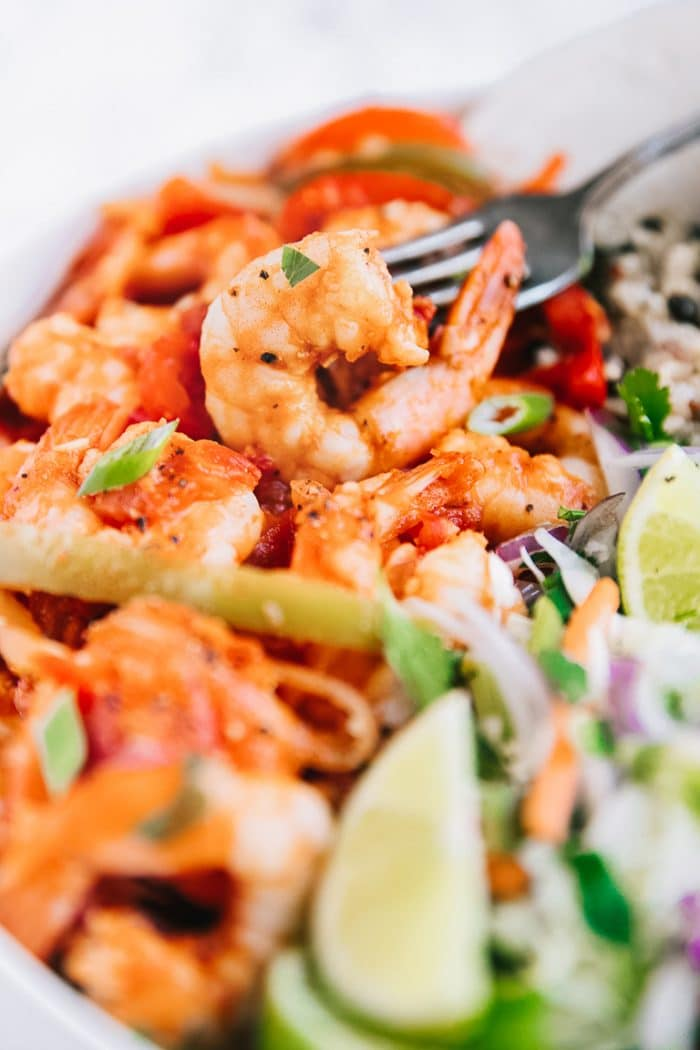 Close-up image of Spicy stewed shrimp