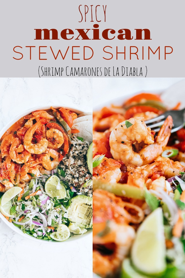 Spicy Mexican Stewed Shrimp (Shrimp Camarones). Super healthy and jam-packed with flavor, this delicious dinner is perfect served alongside Mexican rice, beans, and roasted vegetables via @theforkedspoon #shrimp #stew #shrimpcamapones #easyrecipe #mexicanfood #mexicanshrimp | For this recipe and more visit, https://theforkedspoon.com/