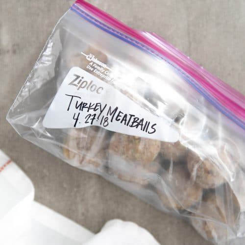 Frozen meatballs in ziplock bag