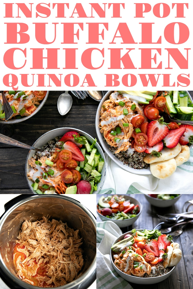 Instant Pot Buffalo Chicken Quinoa Bowls. Flavor-packed bowls filled with Instant Pot Buffalo Chicken, warm quinoa, crunchy greens, sweet strawberries, and juicy tomatoes. These bowls are not only healthy, but they take just 30 minutes to prepare! #buffalochicken #instantpotdinners #glutenfree #quinoabowl #easyrecipe #30minutemeal | For this recipe and more visit, https://theforkedspoon.com
