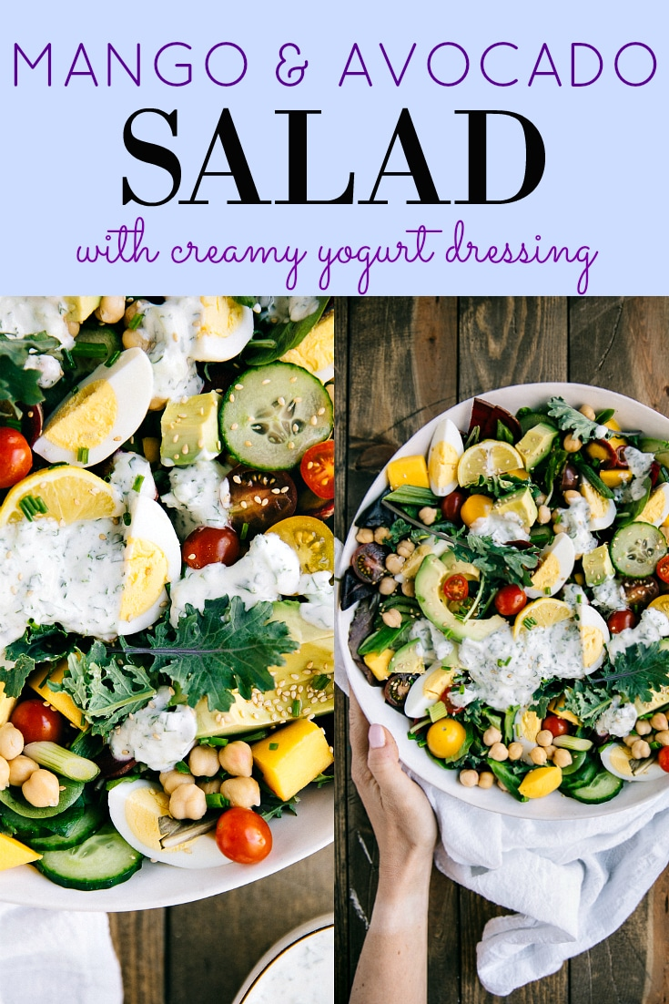 Mango Avocado Salad with Creamy Herb Yogurt Dressing. Fresh, fruity, and healthy, this MANGO AVOCADO SALAD comes packed with crunchy greens, protein-packed chickpeas, and a creamy herbed yogurt dressing for the best 15-minute dinner ever #salad #vegetarian #lowcarbrecipe #healthyrecipe #easydinneridea #kalesalad #mano #avocadosalad #hardboiledeggs | For this recipe and more visit, https://theforkedspoon.com