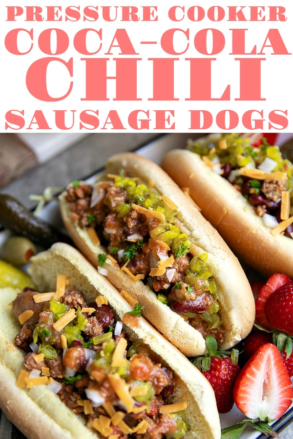 Easy Pressure Cooker Coca-Cola® Chili and Sausage Dogs! #ad #cocacola #sausage #hotdogs #easypartyfood #pressurecooker #instantpot #chili #comfortfood | For this recipe and more visit, https://theforkedspoon.com