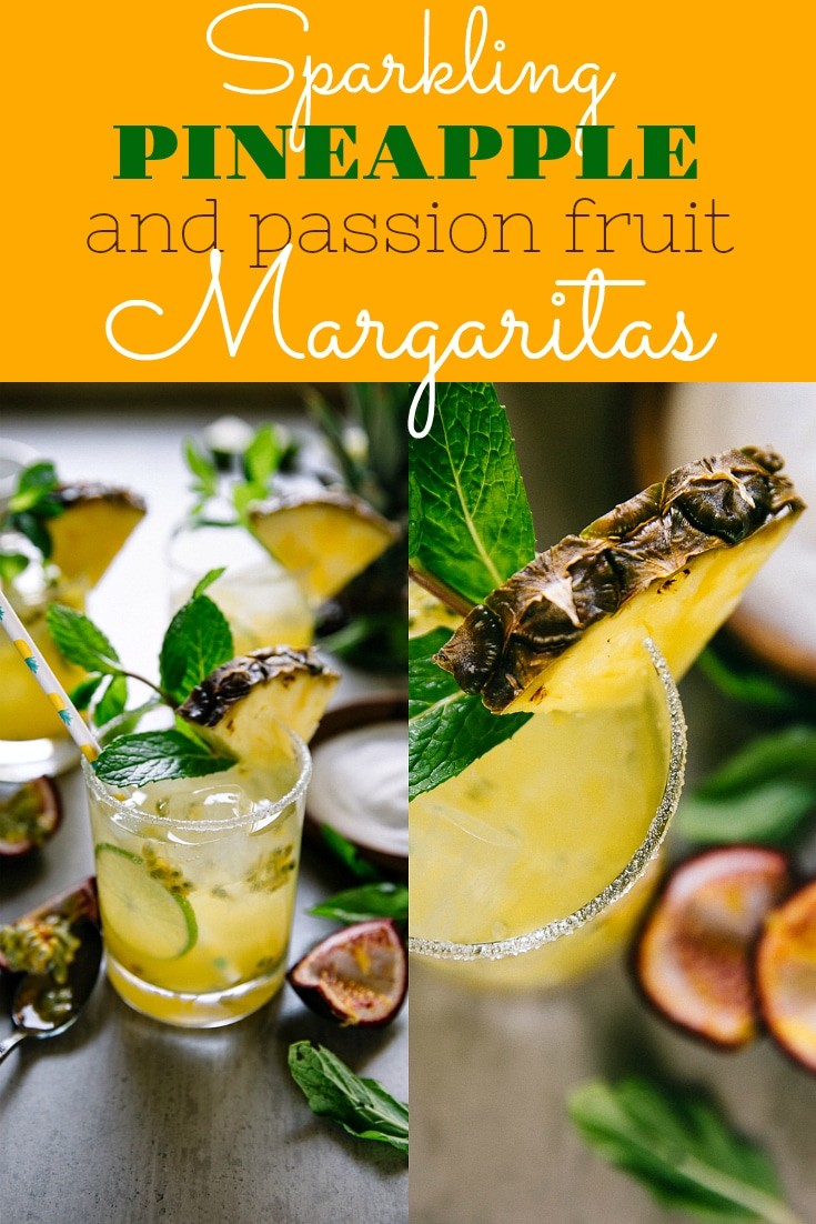 SPARKLING PASSION FRUIT AND PINEAPPLE MARGARITAS. Fresh, fruity, and bubbly, these Sparkling Passion Fruit and Pineapple Margaritas Combine my love for sparkly champagne, all the tequila, and sweet passion fruit to make the very best margarita recipe ever! #cocktail #margarita #tequila #champagne #cincodemayo #drinkrecipe #easyrecipe #margaritarecipe #passionfruit #pineapplemargarita | For this recipe and more visit, https://theforkedspoon.com/