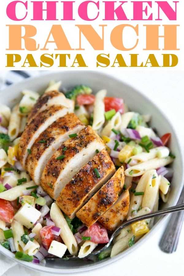 Loaded Chicken Ranch Pasta Salad- a delicious creamy pasta salad recipe perfect for summer BBQs, picnics, and potlucks. Packed full of juicy ranch chicken, fresh vegetables, and a creamy ranch sauce, everyone will love this fun and easy ranch pasta salad #sponsored #hiddenvalleyranchdressing #ranchdressing #pastasalad #chicken #creamypastasalad #bbqfood #picnicfood #easyrecipe #gladpressnseal | For this recipe and more visit, https://theforkedspoon.com