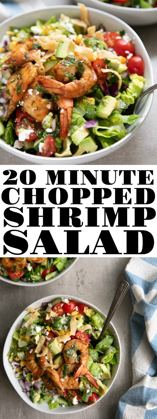 Chopped Shrimp Salad with Cilantro Lime Vinaigrette #salad #shrimp #choppedsalad #shrimpsalad #easyrecipe #cilantro #lowcarb #easydinner | For this recipe and more visit, https://theforkedspoon.com