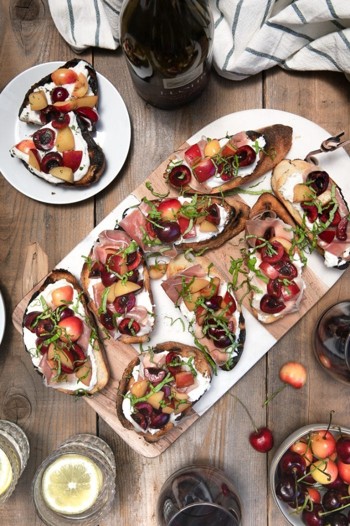 Cherry Bruschetta with Prosciutto and Plums