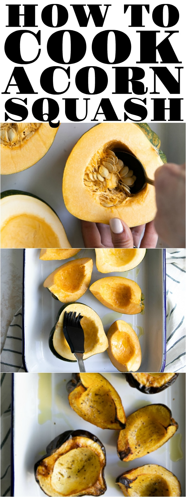 How to Roast an Acorn Squash #acornsquash #squash #howtocookacornsquash #bakedsquash #vegetarian #easyrecipe | For this recipe and more visit, https://theforkedspoon.com