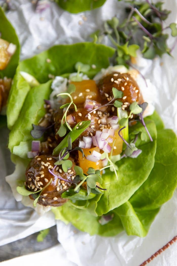 Loaded Lettuce Wrap with Hawaiian Meatballs Recipe