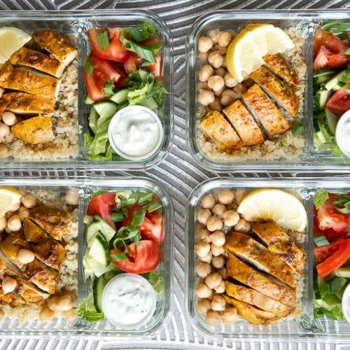 Meal Prep: Chicken Shawarma Quinoa Bowls