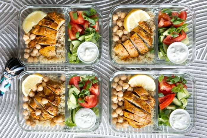 CHICKEN SHAWARMA QUINOA BOWLS WITH EASY MEAL PREP
