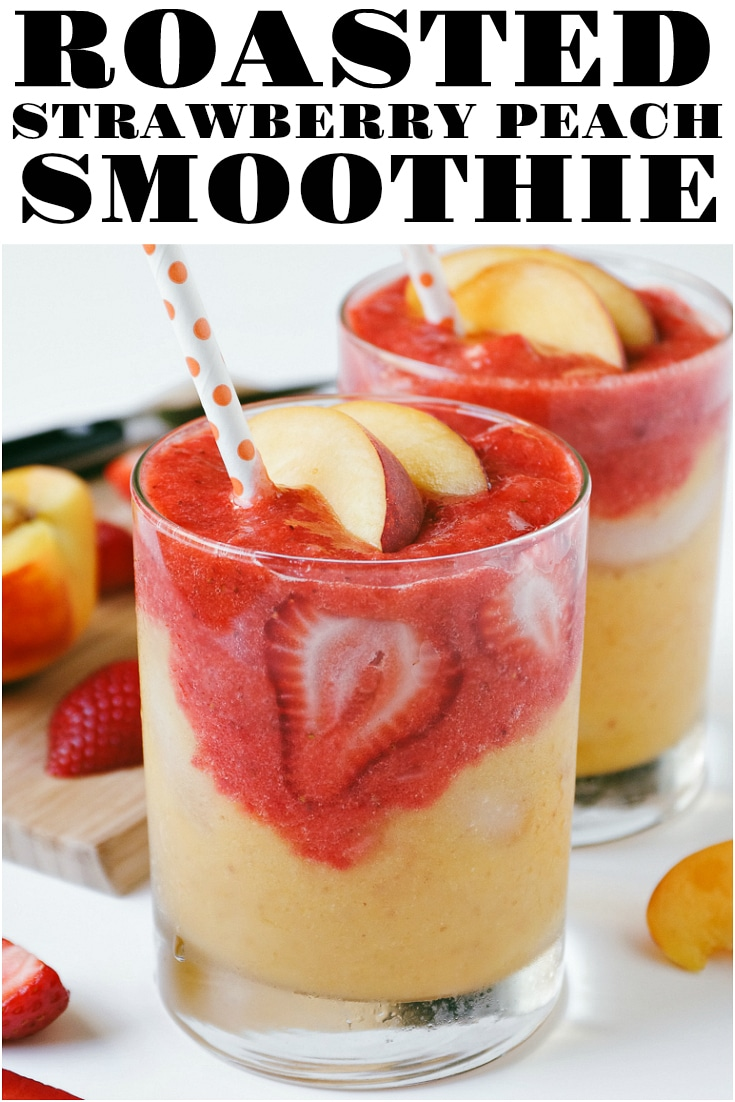 3-ingredient Roasted Strawberry Mango Smoothie Recipe #smoothierecipe #roastedstrawberries #peaches #summersmoothie #easyrecipe #healthyrecipe #vegan #vegetarian | For this recipe and more visit, https://theforkedspoon.com