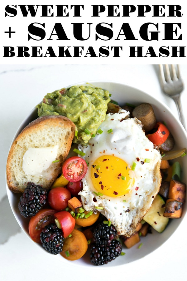 Sweet Pepper and Sausage Breakfast Hash- a delicious anytime combination made with sweet potatoes, sweet maple sausage, caramelized shallots, zucchini, and sweet mini peppers. Fantastic as is or topped with creamy guacamole, fresh tomatoes, berries, and a hot fried egg #breakfast #breakfasthash #sausage #sweetpotato #breakfastrecipe #eggs #breakfastfordinner #healthyrecipeideas | For this recipe and more visit, https://theforkedspoon.com