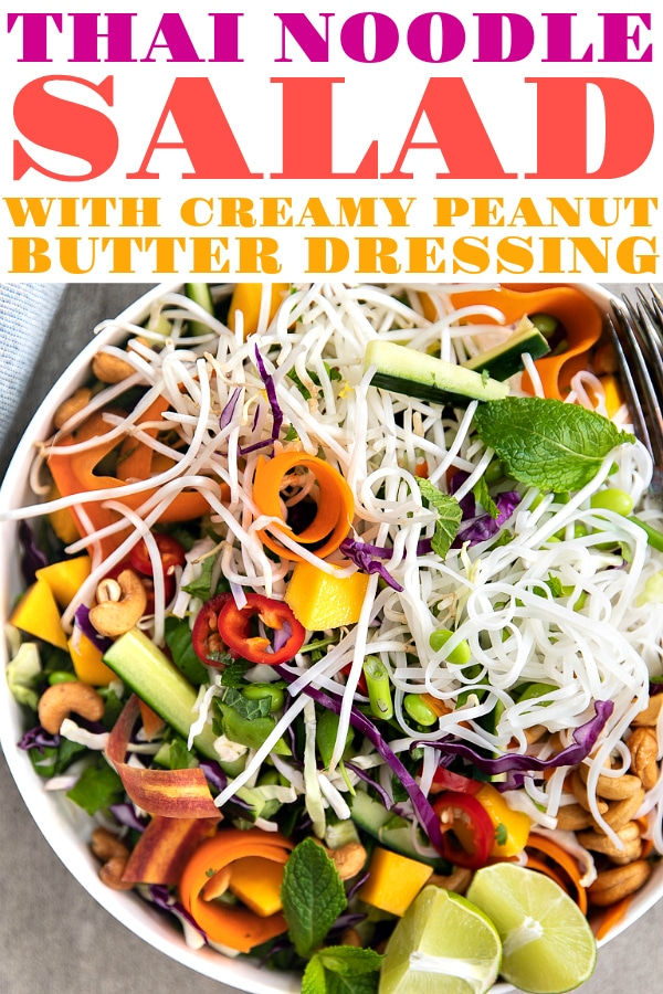 Thai Noodle Salad with Creamy Peanut Butter Dressing. An easy vegetarian dinner bowl filled with crunchy greens, cashews, fresh herbs, and rice noodles. Topped with a creamy, delicious, and super-flavorful Coconut Dressing, you'll wish you made extra. #salad #thaifood #noodlerecipes #homemadedressing #mango #noodlesalad | For this recipe and more visit, https://theforkedspoon.com