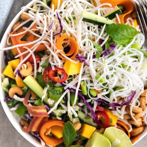 Thai Noodle Salad with Creamy Peanut Butter Dressing