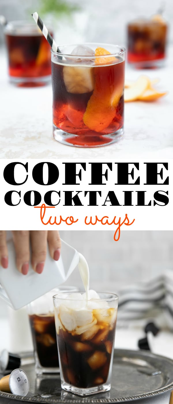 Easy Coffee Cocktails, TWO ways. The Espresso Negroni and Irish Iced Coffee. #sponsored  #nespresso #negroni #espresso #cocktails #icedcoffee #irishedicedcoffee #whiskey #mixeddrinks #alcohol | For these recipes and more visit, https://theforkedspoon.com