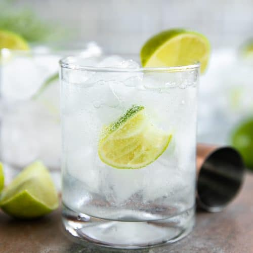 A glass gin and tonic with lime wedges