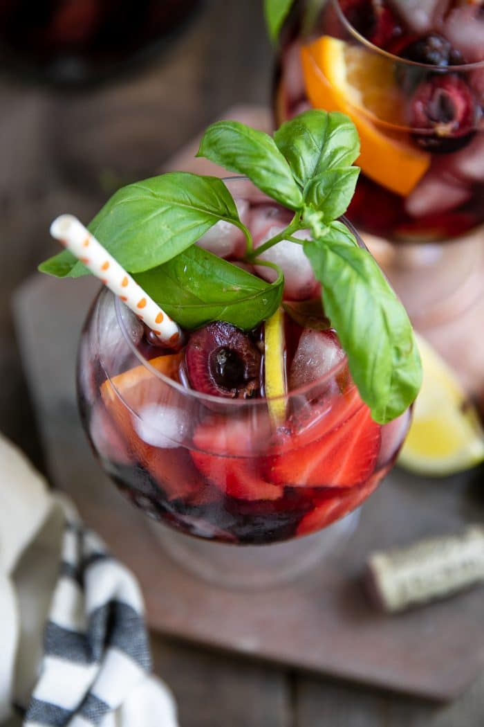 Strawberry Sangria Recipe with fresh basil garnish