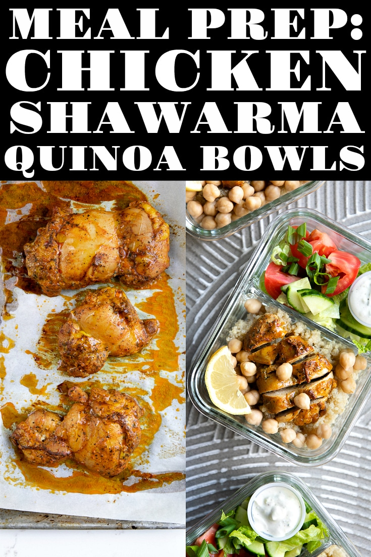 30 Minute Meal Prep Chicken Shawarma Quinoa Bowls. The perfect introductory dish to Middle Eastern cuisine. Marinated in mix of everyday spices and herbs, the result is juicy, complex, and wonderfully flavored chicken dinner perfect for week-long meal prepping. #mealprepideas #chickendinner #chickenshawarma #easydinneridea #quinoabowl #salad | For this recipe and more visit, https://theforkedspoon.com