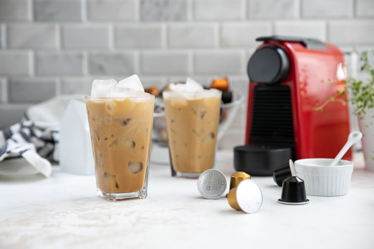 Nespresso Essenza Mini Machine and irish iced coffee