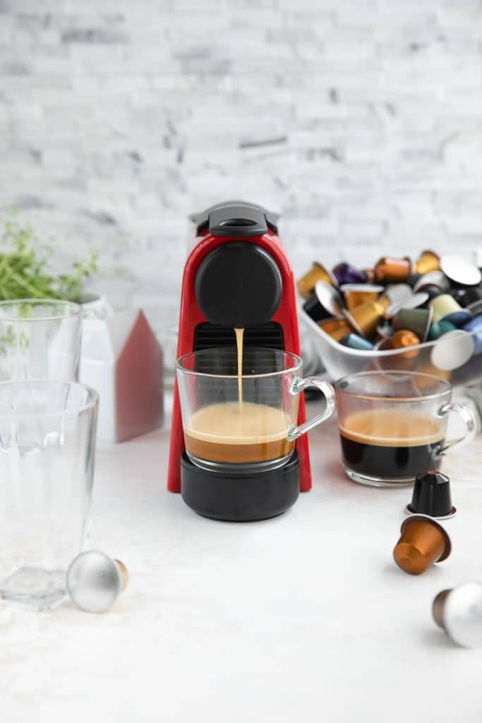Nespresso Essenza Mini Machine Brewing coffee