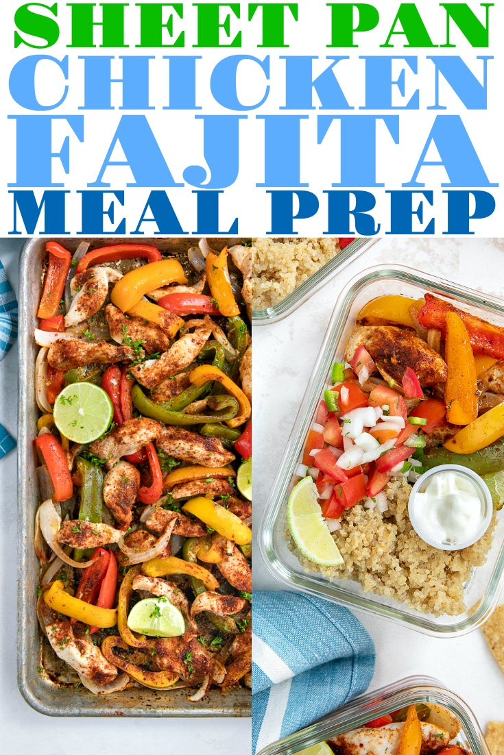 Easy Chicken Fajita Meal Prep Recipe. Easy from start to finish, these Sheet Pan Chicken Fajitas take just 30 minutes to make and make excellent (and healthy!) weekday lunch or dinner meal prep bowls to power you through the week. #mealprep #mealprepideas #chickenmealprep #chickenrecipe #lunchideas #chickenfajitas #fajitarecipe #easyrecipe #healthydinneridea #healthymealprep | For this recipe and more visit, https://theforkedspoon.com