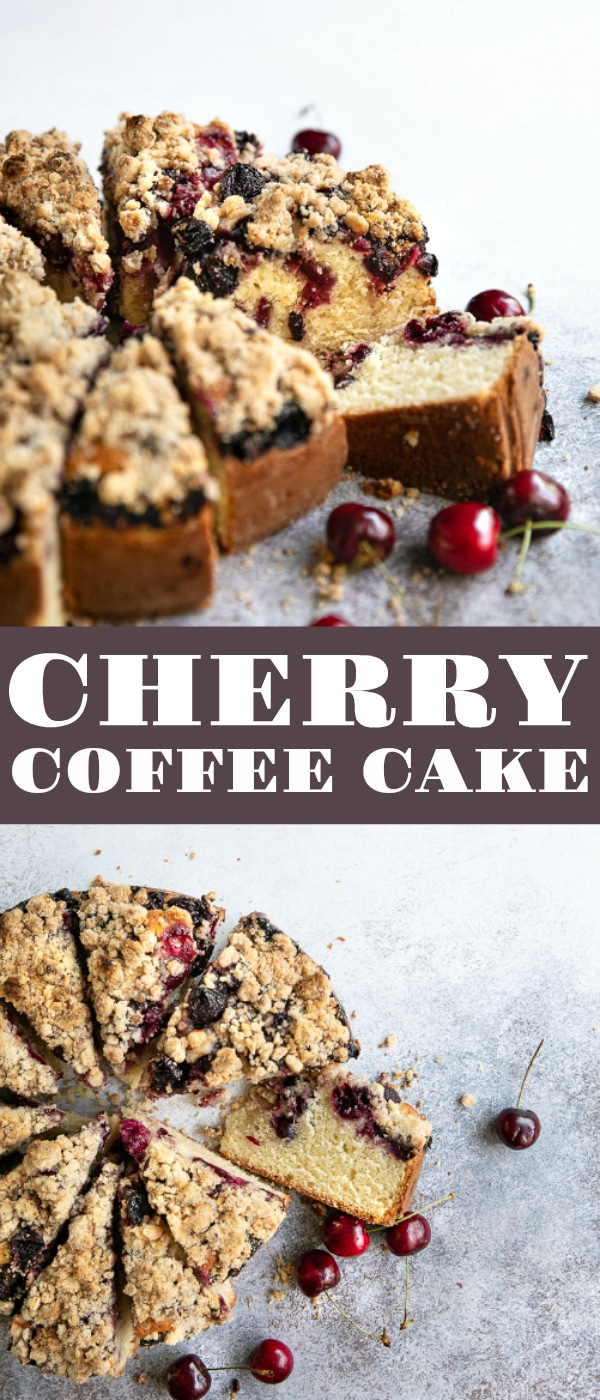 Cherry Coffee Cake Recipe #coffeecake #cake #cherrycake #cakerecipe #crumbcakerecipe #crumbcake #freshcherries #coffeecakerecipe | For this recipe and more visit, https://theforkedspoon.com/cherry-coffee-cake-recipe