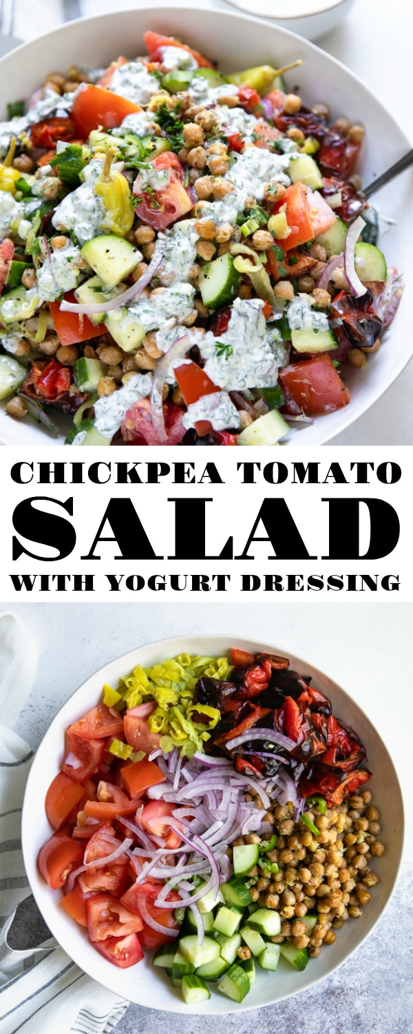 Chickpea Tomato Salad Recipe with Creamy Yogurt Dressing. A fast, fresh, and healthy vegetarian salad packed full of roasted chickpeas, crunchy cucumber and red onion, tangy pepperoncini, juicy tomatoes, and spicy serrano peppers. #saladrecipe #healthy #glutenfree #easydinneridea #chickpeasalad #roastedchickpeas #vegetariansalad #yogurtdressing | For this recipe and more visit, https://theforkedspoon.com