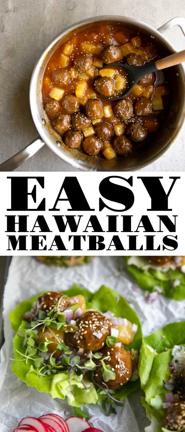 Easy Hawaiian Meatballs are made with ground turkey and covered with a sweet pineapple teriyaki sauce. Serve this delicious Hawaiian Meatballs Recipe with rice or wrapped in fresh, crisp lettuce with microgreens for an easy, low carb, 30-minute meal. #meatballs #pineapple #turkey #groundturkey #turkeymeatballs #hawaiianmeatballs #lettucewraps #healthydinner #lowcarb #dairyfree | For this recipe and more visit, https://theforkedspoon.com
