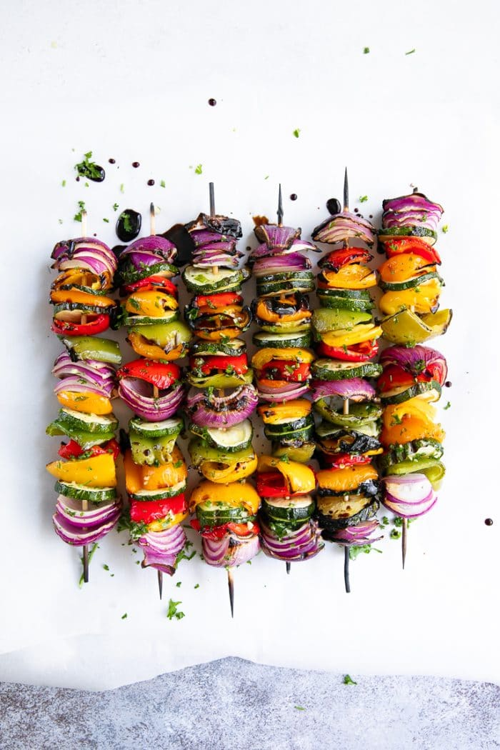 vegetable skewers drizzled with balsamic vinegar