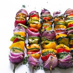 grilled veggie skewers up close