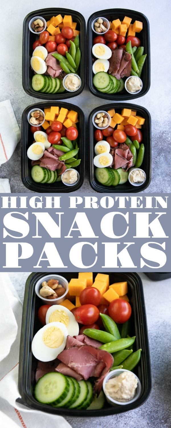 Protein Snack Packs filled with hard-boiled eggs, almonds, hummus, and crunchy veggies. An easy and delicious Lunch Meal Prep Solution perfect for any protein lover, these fantastic little protein snack packs are perfect for school lunches, post-workout snacks, or picnics in the park. #mealprep #lunch #snackideas #highprotein #lowcarb #backtoschool | For this recipe and more visit, https://theforkedspoon.com