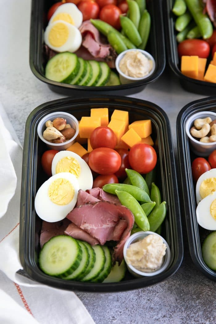Lunch Meal Prep with high protein foods like cheese, nuts and lunch meat