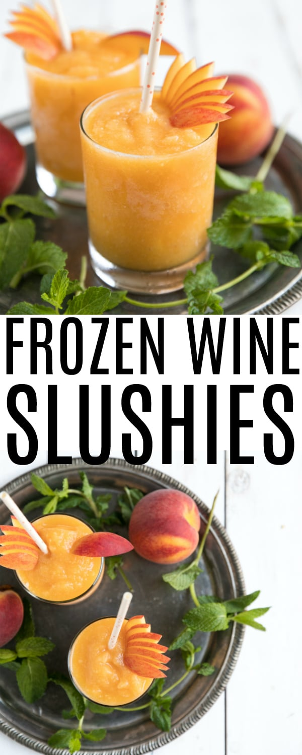Frozen Peach Wine Slushies are made with just two simple ingredients - peaches and wine - for a blended, refreshing, and delicious summertime cocktail you\'ll make over and over again. Learn how to make wine slushies here! #wine #whitewine #peaches #summerdrinks #wineslushies #drinks #easydrinkrecipe | For this recipe and more visit, https://theforkedspoon.com