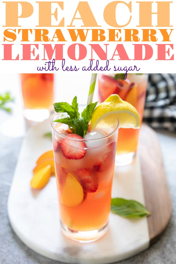 Summer Peach Strawberry Lemonade Recipe made with juicy strawberries and sweet summer peaches is a must have during the hot summer months. Made with fresh fruit and less added sugar, this homemade lemonade recipe is guaranteed to keep you cool all summer long. #lemonade #strawberrylemonade #colddrink #nonalcoholic #peachrecipe #summerrecipe #homemadelemonaderecipe #lessaddedsugar | For this recipe and more visit, https://theforkedspoon.com
